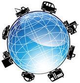 Auto Globe Icon — Stock Vector
