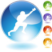 Catching Football Crystal Icon — Stock Vector