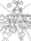 Cheerleaders - black and white — Stock Vector