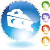 Icono de cristal de la cuña de queso — Vector de stock
