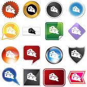 Conjunto de ícones de cunha de queijo — Vetorial Stock