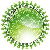 Green Globe Icon — Stock Vector