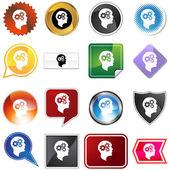 Cog Wheel Mind Variety Set — Stock Vector