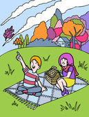 Kid Adventures: Fall Picnic with Friend — Vetorial Stock