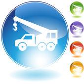 Jeřáb háček truck crystal ikona — Stock vektor