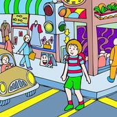 Child walks across the street — Stock Vector