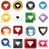 Diamond Jewel Variety Icon Set — Stock Vector