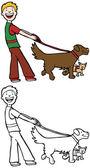 Dog Walker — Stock Vector
