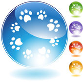 Paw Print Crystal Set — Stock Vector