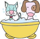 Dog and Cat Bath — Stock Vector