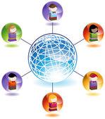 子供のグローバル ネットワーク — ストックベクタ