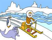 Eskimo Sled Ride — Stock Vector