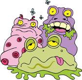 Filthy bacteria creatures and flies. — Stock Vector