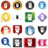 Freedom Fist Icon Set — Stock Vector