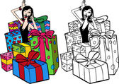 Woman Surrounded By Presents — Stock Vector