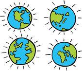 Cartoon Globe — Stock Vector