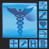 Medical Button Icon Set — Stock Vector