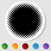 Round Button Set - Halftone — Stock Vector