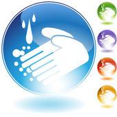Icône de cristal pour le lavage main — Vecteur