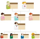 Diversity Organizational Chart - 3D Healthcare — Stock Vector