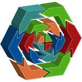 Process Hexagon Diagram — Stock Vector