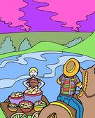 Kid Adventures: Potato Farming — Stock Vector