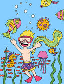 Child goes snorkeling — Stock Vector