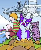 Kid Adventures: Trip to Massachusetts — Vetorial Stock