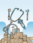 Medical tools and building — Cтоковый вектор