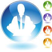 Meditasyon kavramı kristal simgesi — Stok Vektör