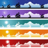 Sailboat Banner Set — Stock Vector