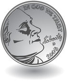 3D image of a nickel. — Stock Vector
