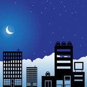 Night Skyline — Stock Vector