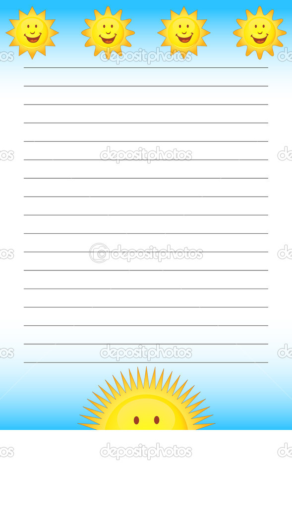 Notepad with multiple yellow suns. — Stock Vector #3983212