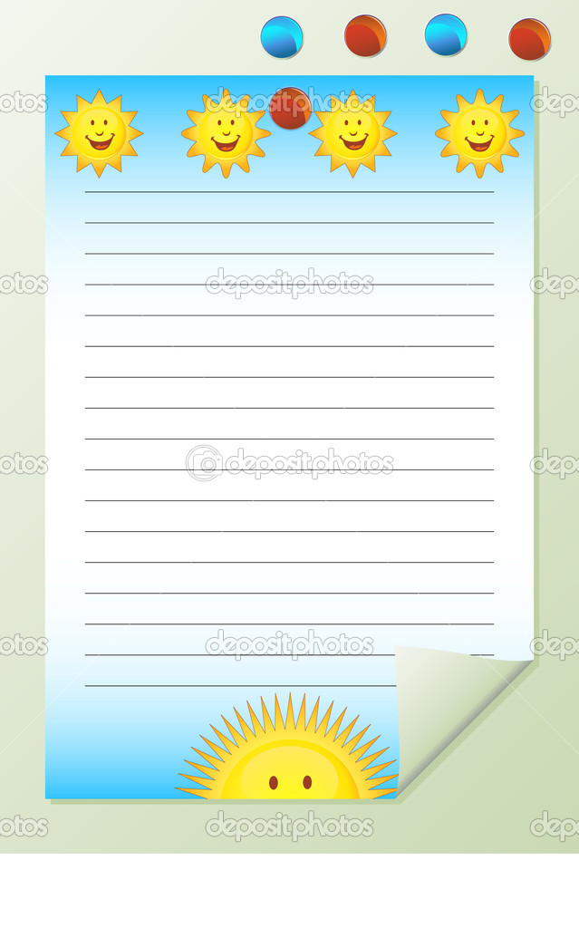 Notepad with multiple yellow suns. — Stock Vector #3983213