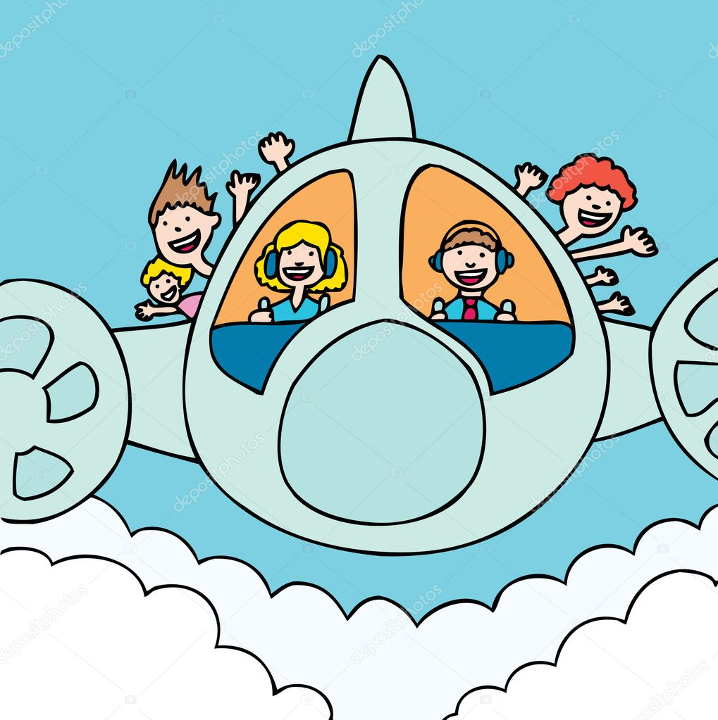 Everyone is happy on the sunshine plane. — Stock Vector #3983216