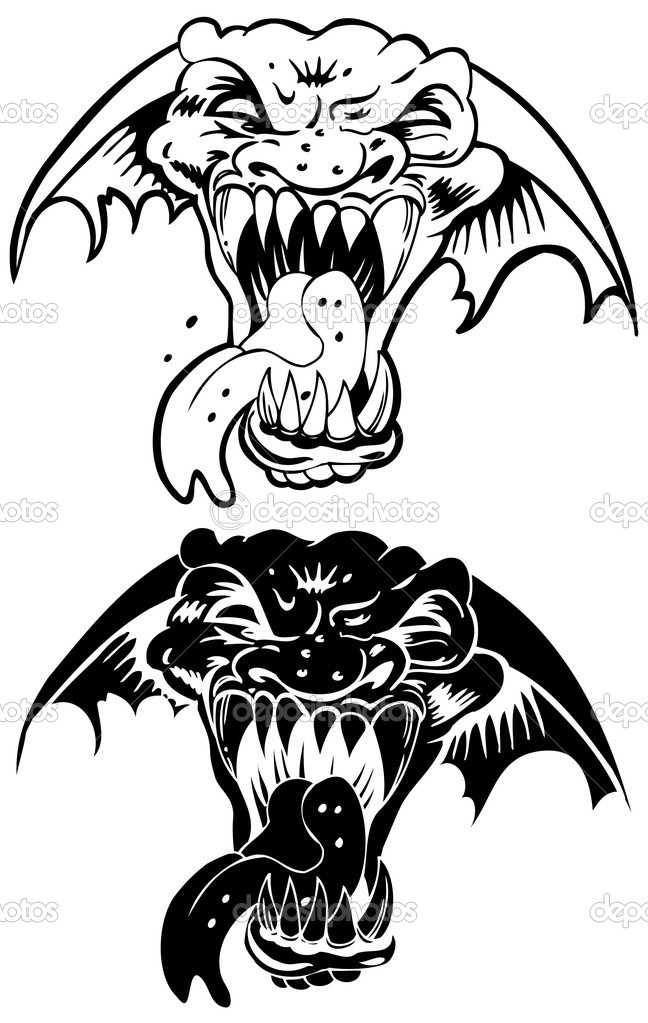 Set of 2 faces of a beast with fangs. — Stock Vector #3983229