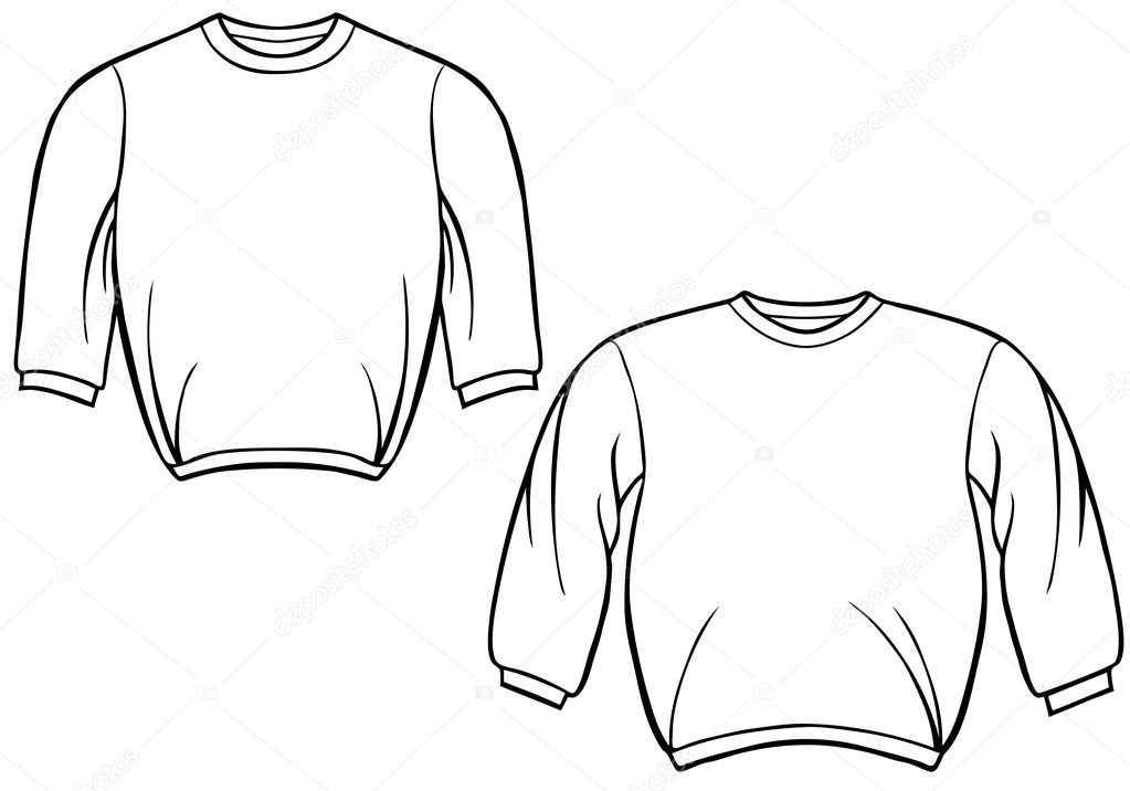 Clothing line art: sweatshirt - black and white. — Stock Vector #3983255
