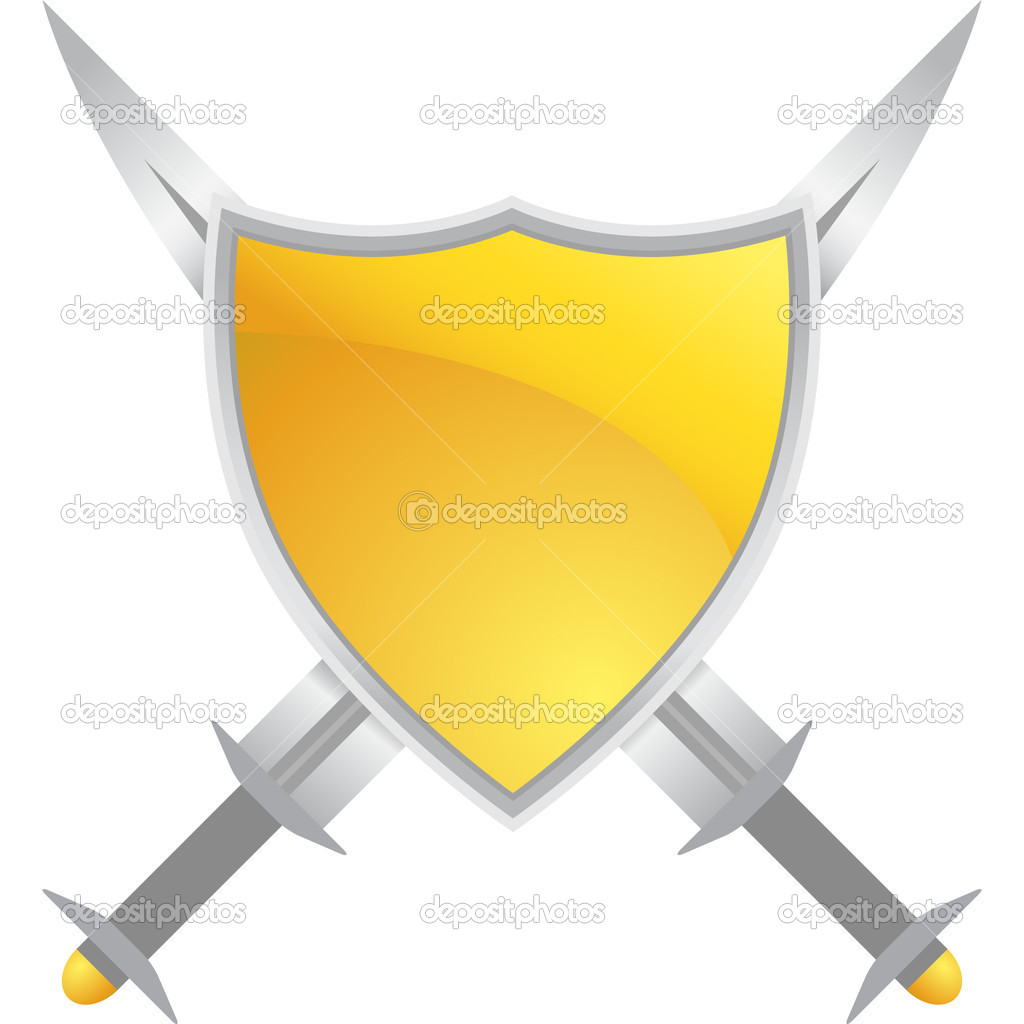 Crossed swords and shield crest. — Stock Vector #3983283