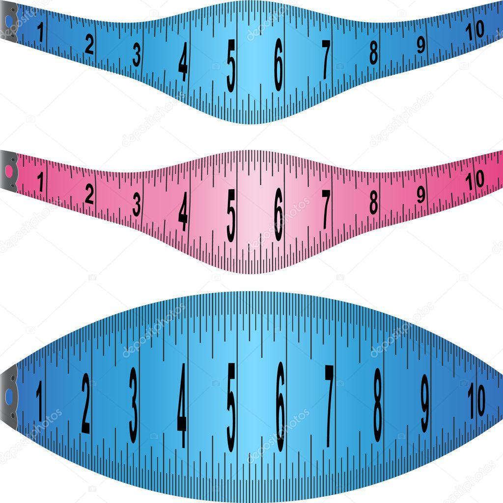 Set of measuring tape elements in different colors.  Stock Vector #3983312