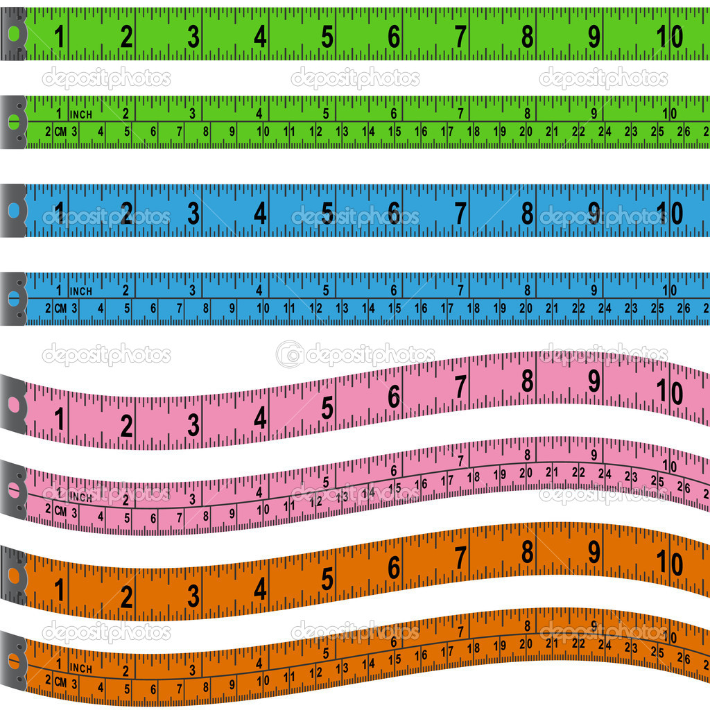 Colorful measuring tape set in inches and centimeters. — Stock Vector #3983313