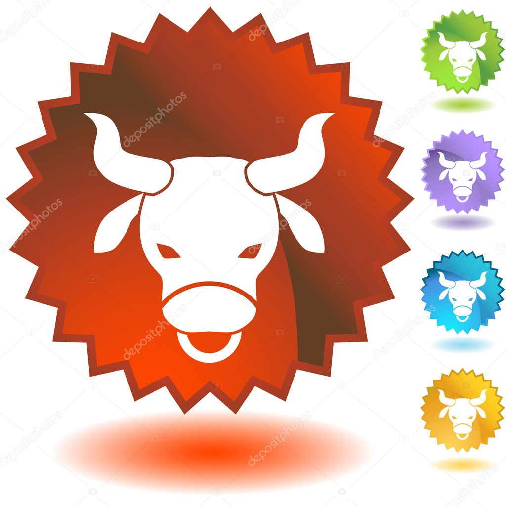 Set of 3D zodiac label icons - Taurus.  Stock Vector #3983322