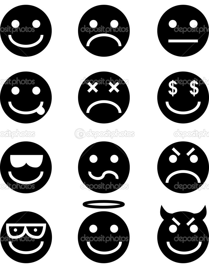 Emoticon icon set isolated on a white background.  Stock Vector #3983530
