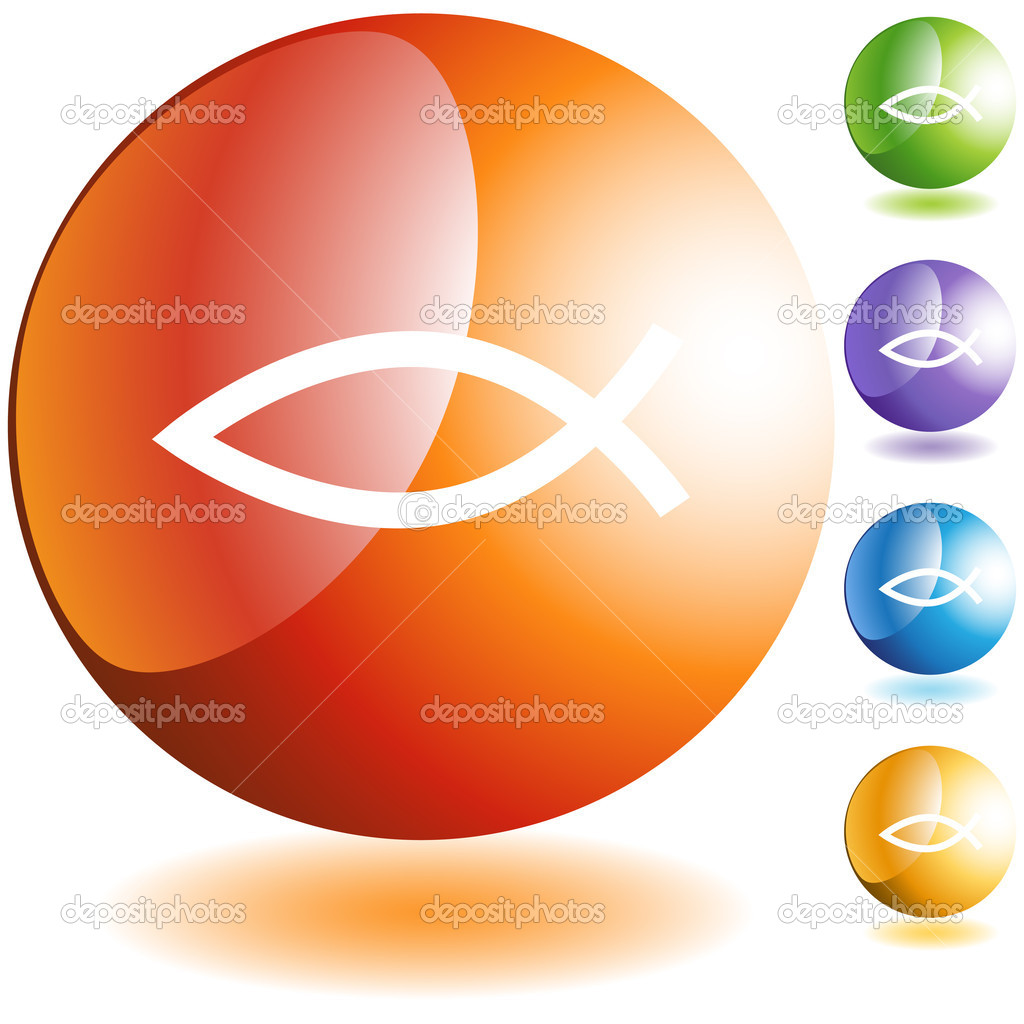 Jesus fish web button icon isolated on a background. — Stock Vector #3983648