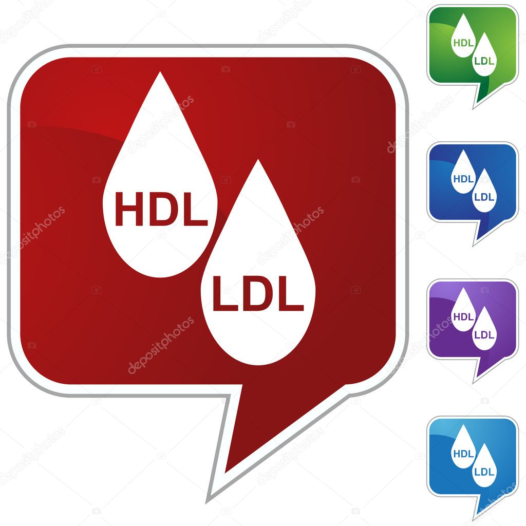 A set of icons representing HDL LDL Cholesterol.  Stock Vector #3983804