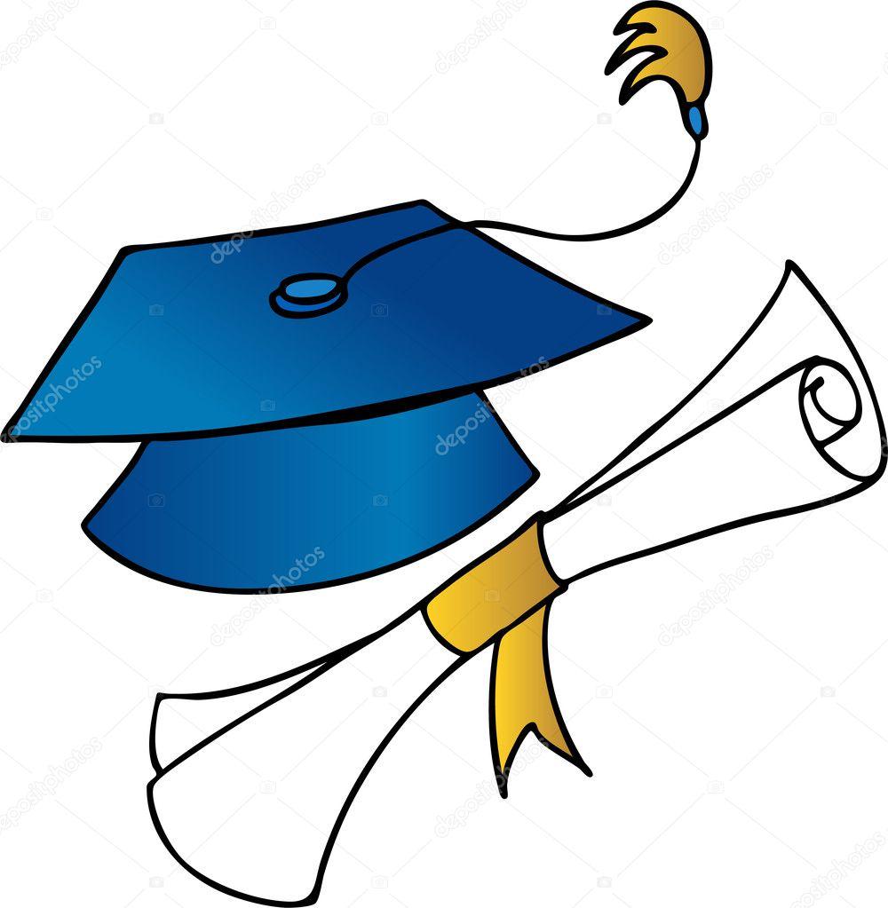 Una imagen de un sombrero de graduación y un diploma\u2014 Vector de cteconsulting