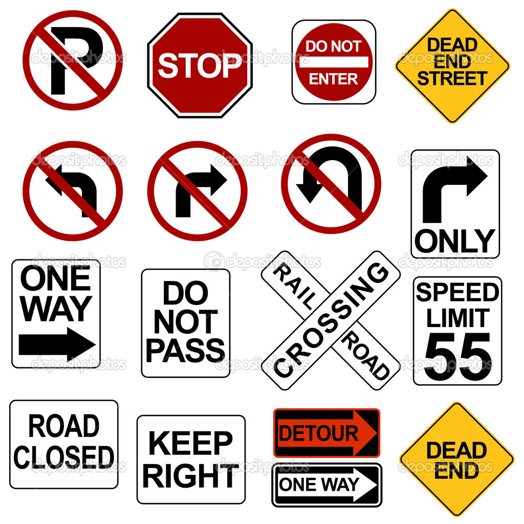 An image of road sign icons.  Stock Vector #3984603