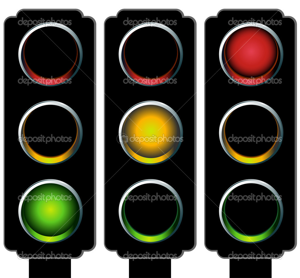 An image of a 3d traffic light. — Stock Vector #3984604