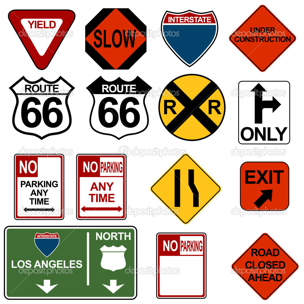 An image of a traffic signage set. — Stockvectorbeeld #3984606
