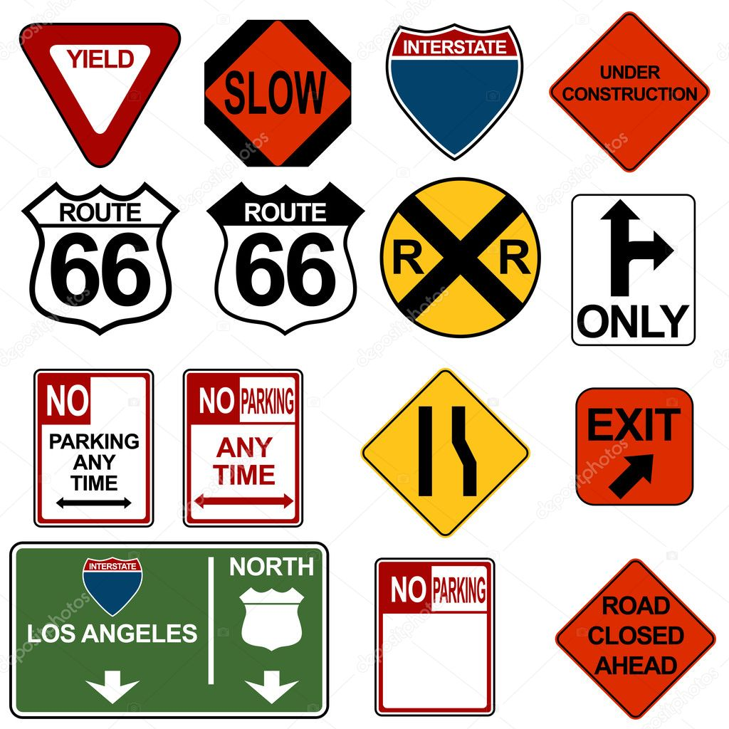 An image of a traffic signage set. — Imagen vectorial #3984606